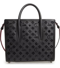 christian louboutin medium paloma studded leather satchel - black