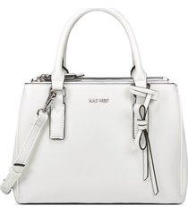 cartera satchel caitlyn nine west para mujer blanco floral