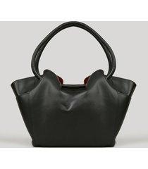 bolsa feminina shopper com bolsos laterais preta