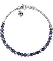 'classic chain' lapis lazuli bead silver bracelet