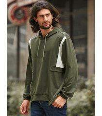 sudadera con capucha y dobladillo asimétrico con cordón y bloque de color para hombre