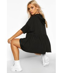 plus hooded peplum sweatshirt, black