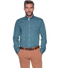 campbell casual shirt met lange mouwen aqua blauw