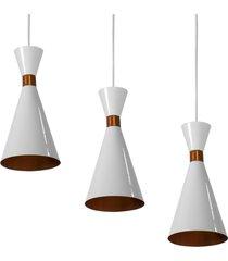 kit 3 lustres pendentes flã³rida de alumãnio branco c/ cobre - branco - dafiti