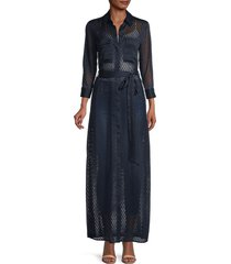 l'agence women's sheer belted button-down dress - midnight - size s