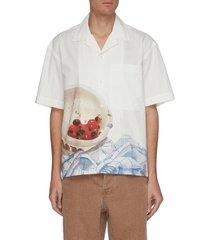 'la chemise jean' cherry graphic print bowling shirt
