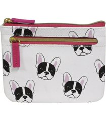 buxton women's french bulldog rfid pik-me-up id coin and card case