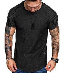 applique solid color layer raglan sleeves t-shirt