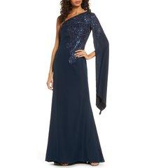 women's tadashi shoji sequin cape sleeve gown, size 6 - blue
