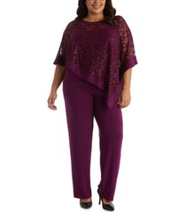 r & m richards plus size 2-pc. poncho top & pants set