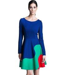 sukienka z długim rękawem trójkolorowa