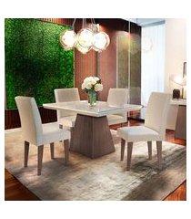 conjunto de mesa de jantar luna com tampo de vidro off white e 4 cadeiras grécia veludo creme e café