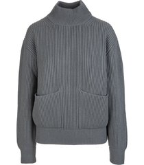 fedeli woman turtleneck sweater in stone grey ribbed cashmere with pockets
