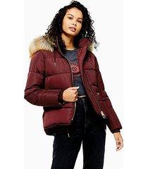 burgundy detachable faux fur hooded padded puffer jacket - burgundy