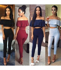 women sexy off shoulder ruffled crop top pant 2 pieces rompers bodycon jumpsuit