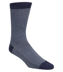men's cole haan check dress socks, size one size - blue