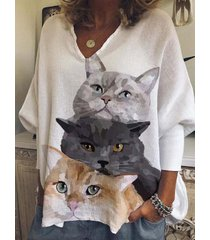 camicetta casual allentata a maniche lunghe con stampa gatto da donna