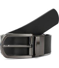 cinturon negro/café preppy reversible sin costura