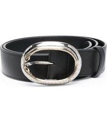 just cavalli oval-buckle belt - black