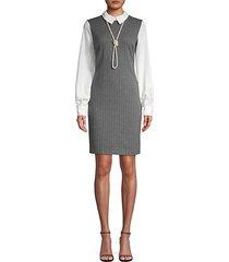 long sleeve pinstripe sheath dress