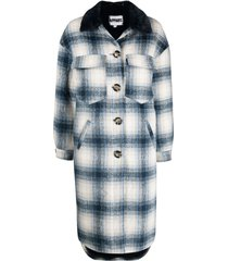 apparis james checked single-breasted coat - blue