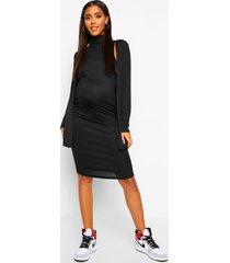 zwangerschaps jurk met col en cardigan set, black
