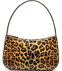kwaidan editions patent leather leopard print tote bag - brown