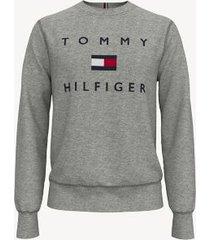 tommy hilfiger men's essential logo sweatshirt grey heather - xxl