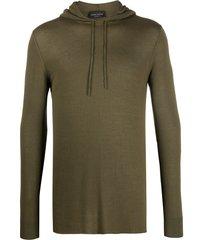 roberto collina lightweight knitted hoodie - green