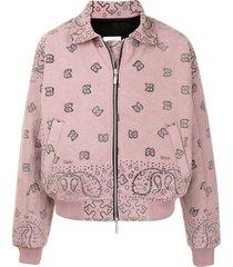 rhude bandana zip-up bomber jacket - pink