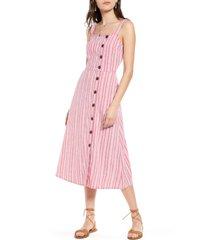 women's treasure & bond asymmetrical button linen blend midi dress