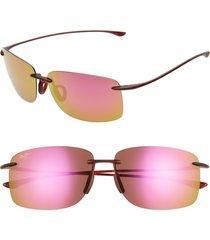 maui jim hema 62mm polarizedplus2 oversize rimless sunglasses - maui sunrise/ matte tortoise