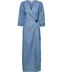 vibasta doletta 3/4 wrap maxi dress/ka dresses wrap dresses blå vila