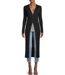 525 america women's wide rib-knit long cardigan - midnight - size xs
