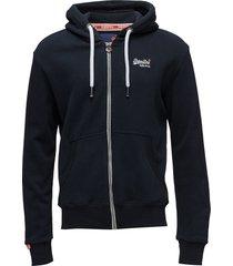 orange label ziphood hoodie trui blauw superdry