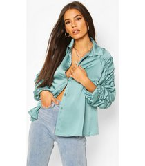 satin ruched sleeve shirt, teal