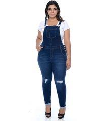 macacão cambos jardineira jeans skinny destroyed