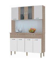 kit cozinha compacta armário pan 08 portas nogal/white/nogal - kit's paraná