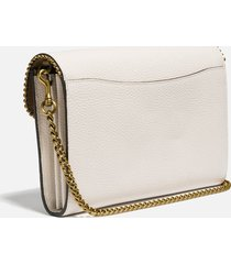 coach women's polished pebble bead chain tabby chain clutch - chalk