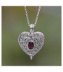 garnet locket necklace, 'always in my heart' (indonesia)
