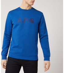 a.p.c. x carhartt men's ice h sweatshirt - bleu roi - l