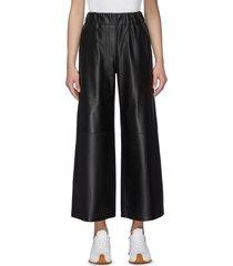 elastic waist wide leg crop leather pants