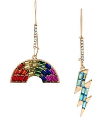 "betsey johnson rainbow lightning bolt mismatch long drop earrings in gold-tone metal, 2""-2.5"""