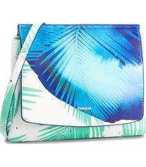 bolsa tiracolo desigual estampada azul/branca - azul - feminino - dafiti