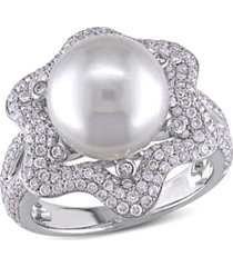 south sea cultured pearl (10-10.5mm) and diamond (1 ct. t.w.) floral halo cocktail ring in 14k white gold