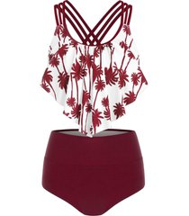 palm tree print overlay tankini swimsuit