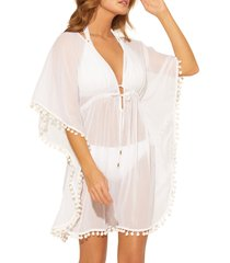 women's bleu by rod beattie pompom cover-up caftan, size large - white