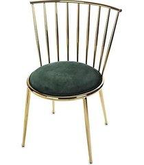 krzesło metalowe złote połysk ciemno zielone