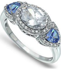 cubic zirconia oval with tanzanite cz accents 3 stone ring in fine silver plate or 18k gold plate