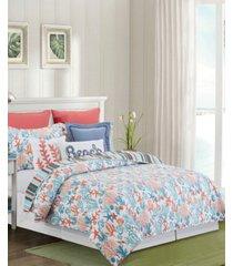 tangerine coast full/queen quilt set, 3 pieces